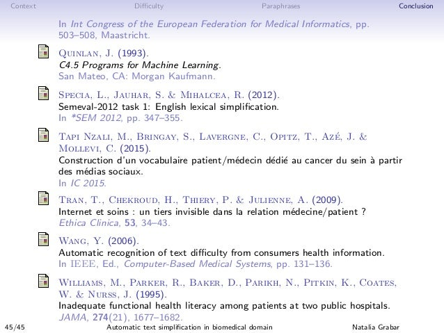 Context Difficulty Paraphrases Conclusion In Int Congress of the European Federation for Medical Informatics, pp. 503–508, M...