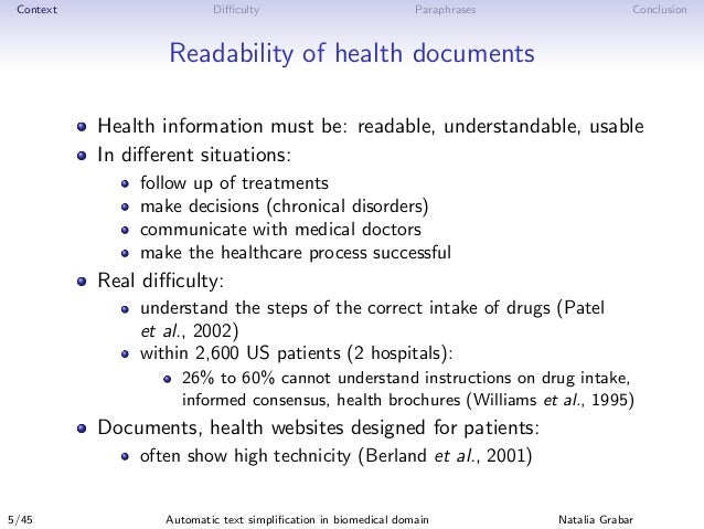 Context Difficulty Paraphrases Conclusion Readability of health documents Health information must be: readable, understandab...
