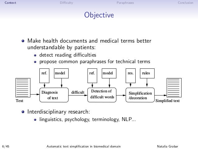 Context Difficulty Paraphrases Conclusion Objective Make health documents and medical terms better understandable by patient...