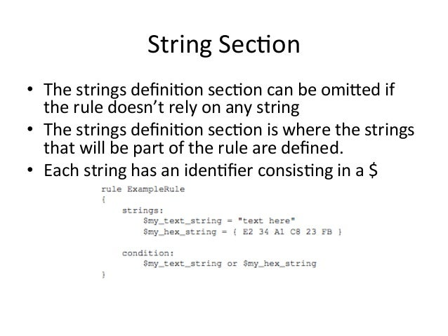 String  Sec'on  • The  strings  defini'on  sec'on  can  be  omixed  if  the  rule  doesn't  rely  on  any  string  • The  ...