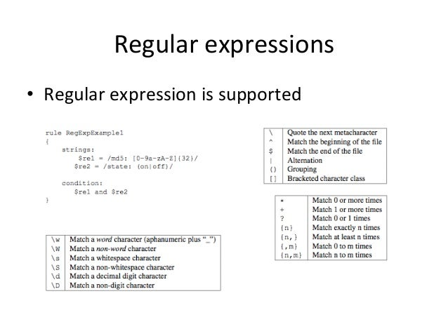 Regular  expressions  • Regular  expression  is  supported