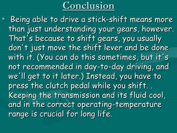 Operating a stick shift transmission essay