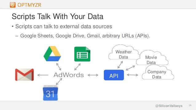 Google Confidential and Proprietary 2626@SiliconVallaeys Scripts Talk With Your Data • Scripts can talk to external data s...