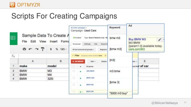 Google Confidential and Proprietary 3131@SiliconVallaeys Scripts For Creating Campaigns