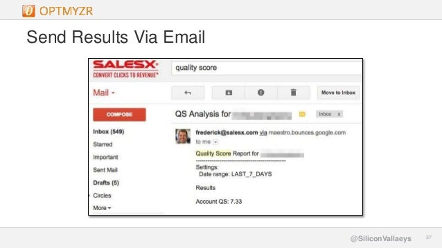 Google Confidential and Proprietary 3737@SiliconVallaeys Send Results Via Email