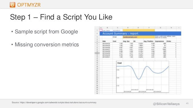 Google Confidential and Proprietary 4545@SiliconVallaeys Step 1 – Find a Script You Like • Sample script from Google • Mis...