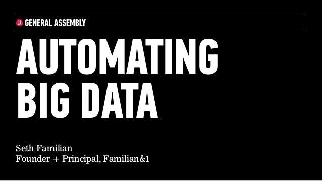 Seth Familian Founder + Principal, Familian&1 AUTOMATING BIG DATA