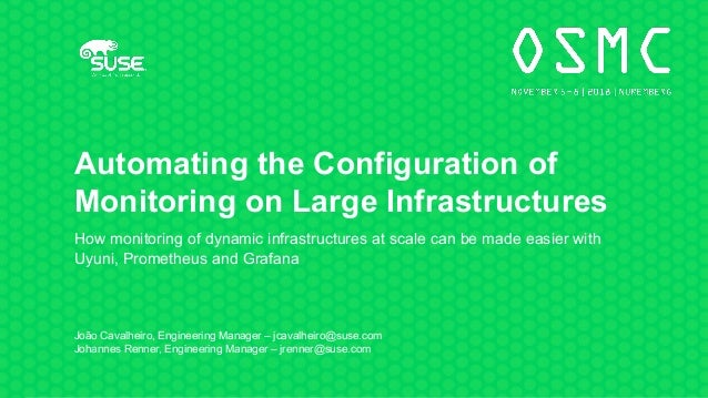 Automating the Configuration of Monitoring on Large Infrastructures How monitoring of dynamic infrastructures at scale can...