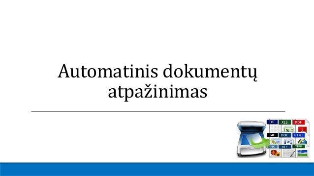 Automatinis dokumentų atpažinimas