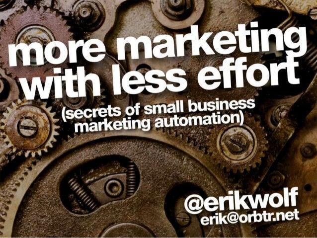 WordPress Marketing Automation | Erik Wolf | WordCamp Chicago 2013