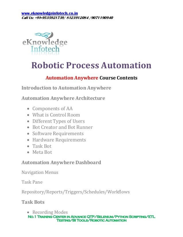 Automation anywhere Course Contents