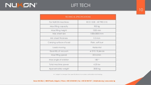 LIFT TECH  Subject to change. Only specifications in our order confirmation are binding. TECHNICAL SPECIFICATIONS For NUK...