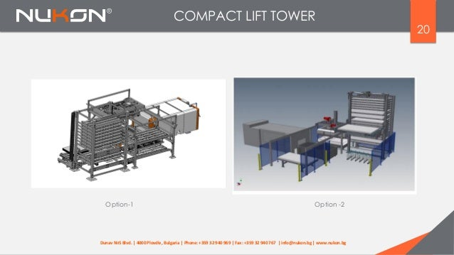 20 Option-1 Option -2 COMPACT LIFT TOWER Dunav №5 Blvd. | 4000 Plovdiv, Bulgaria | Phone: +359 32 940 969 | Fax: +359 32 9...