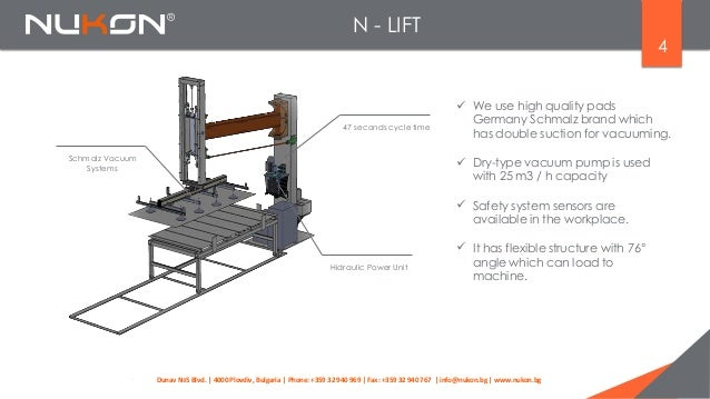 N - LIFT 4  We use high quality pads Germany Schmalz brand which has double suction for vacuuming. 47 seconds cycle time ...