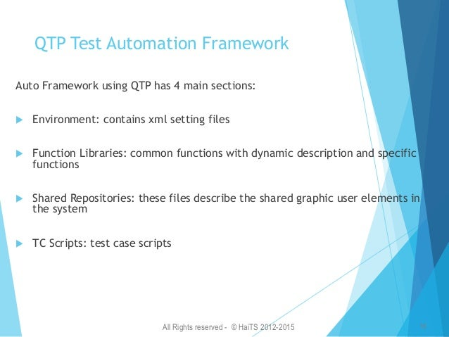 All Rights reserved - © HaiTS 2012-2015 17 Selenium Automation Framework Selenium Automation Architecture: