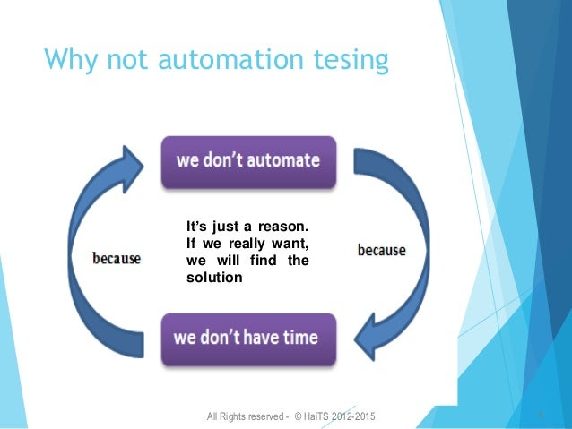 All Rights reserved - © HaiTS 2012-2015 7 Mindset of manual vs. automation 5 levels mindset for Tester You don't believe i...