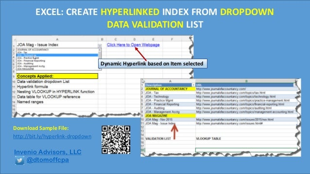 Excel Hyperlink Data Validation