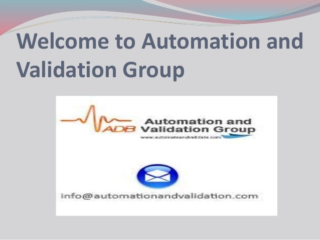 Welcome to Automation and Validation Group
