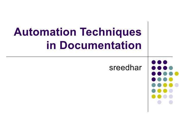 Automation Techniques in Documentation