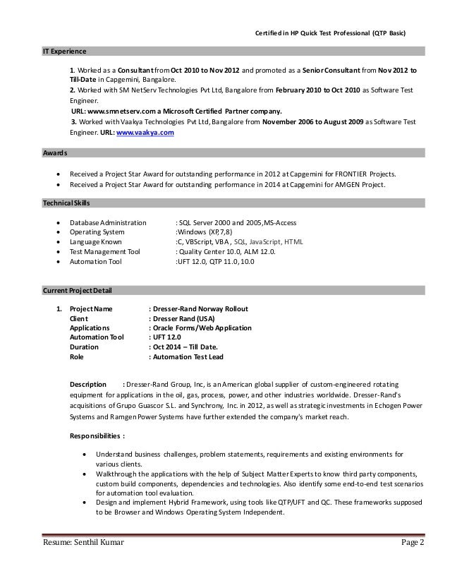 best automation test lead resume contemporary simple resume