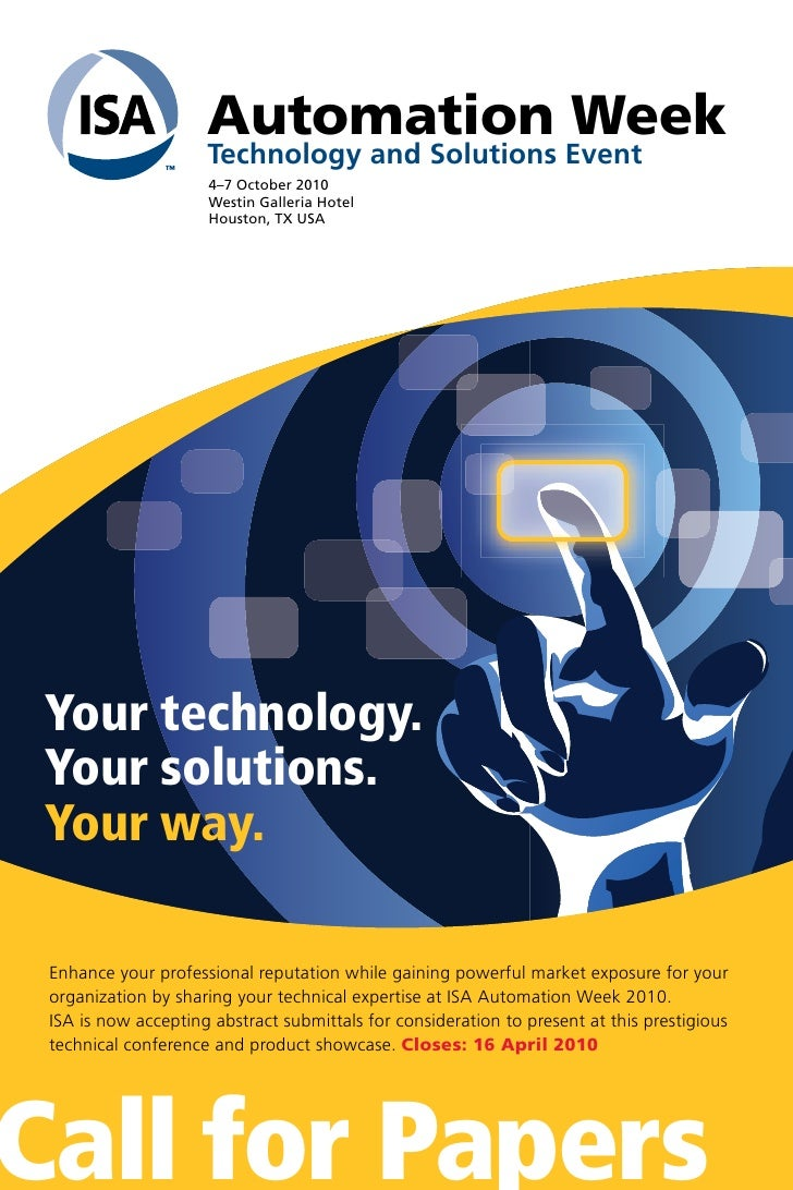 Automation Week                      Technology and Solutions Event                      4–7 October 2010                 ...