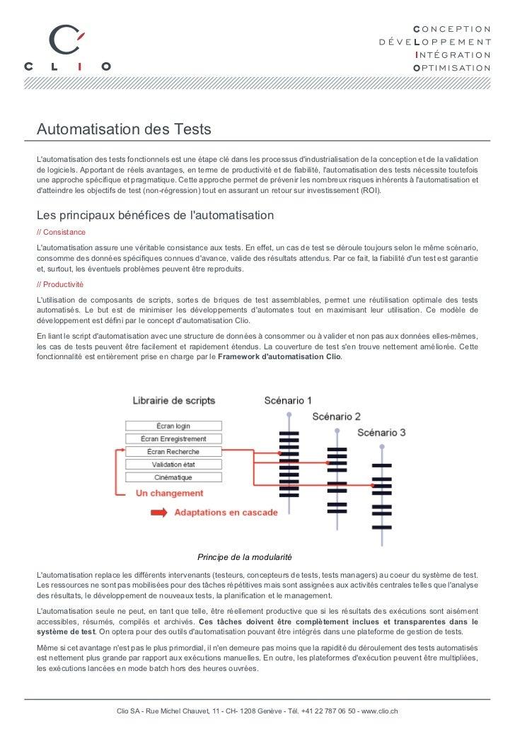 Automatisation des TestsLautomatisation des tests fonctionnels est une étape clé dans les processus dindustrialisation de ...