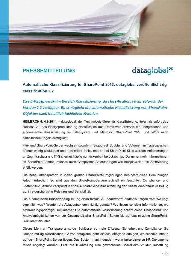 PRESSEMITTEILUNG  Automatische Klassifizierung für SharePoint 2013: dataglobal veröffentlicht dg  classification 2.2  Das ...