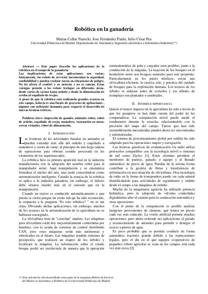 Robótica en la ganadería                                 Matias Collar Narocki, Jose Fernández Pardo, Julio César Pea     ...