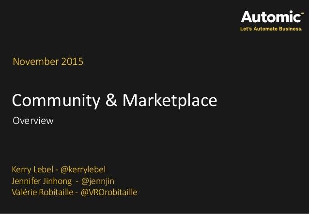 Community & Marketplace November 2015 Overview Kerry Lebel - @kerrylebel Jennifer Jinhong - @jennjin Valérie Robitaille - ...