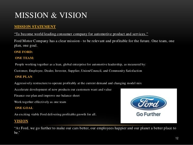 Automobile industry 1 for Ford motor company mission statement