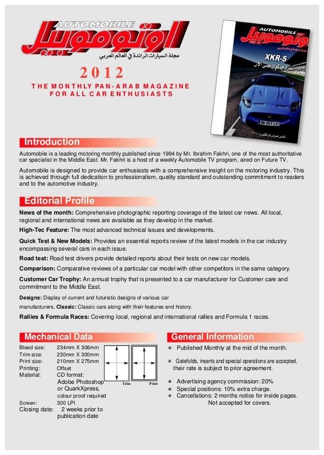 2 0 1 2 T H E M O N T H LY PA N - A R A B M A G A Z I N E F O R A L L C A R E N T H U S I A S T S Introduction Automobile ...