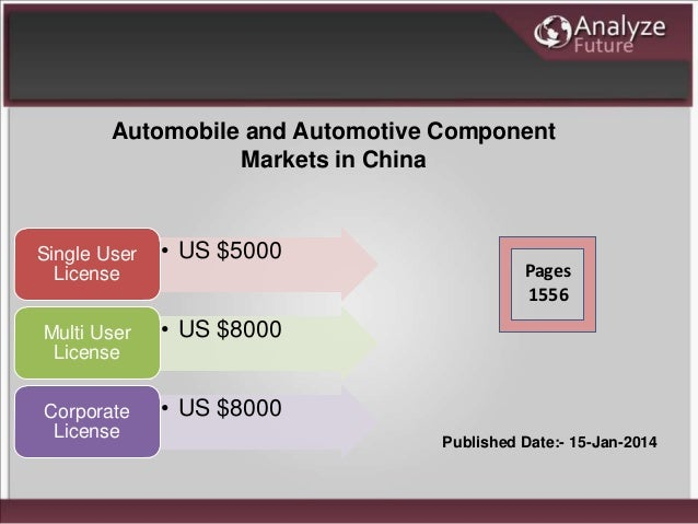 Automobile and Automotive Component Markets in China • US $5000Single User License • US $8000Multi User License • US $8000...