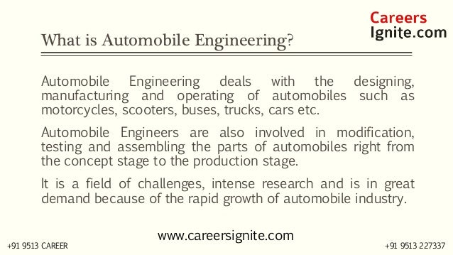 Automobile Engineering Courses, Colleges, Eligibility Slide 2