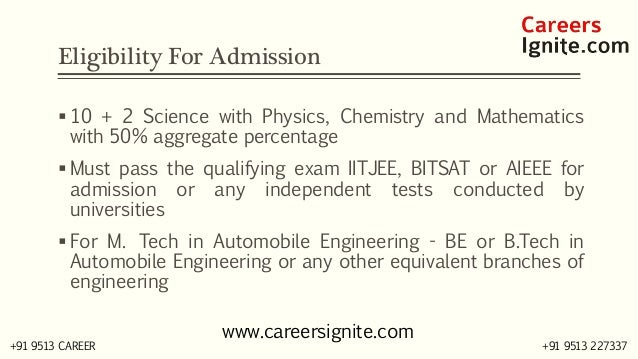Automobile Engineering Courses, Colleges, Eligibility Slide 3