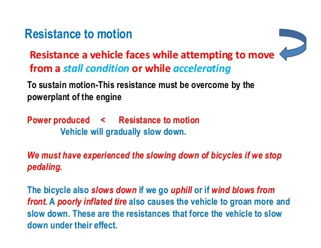 Automobile resistance to motion