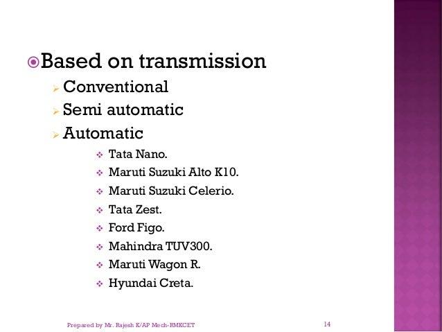 Based on transmission ➢ Conventional ➢ Semi automatic ➢ Automatic ❖ Tata Nano. ❖ Maruti Suzuki Alto K10. ❖ Maruti Suzuki ...