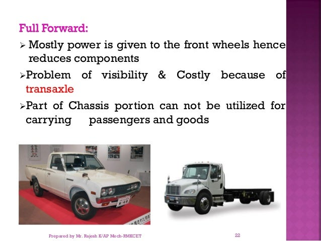 Full Forward: ➢ Mostly power is given to the front wheels hence reduces components ➢Problem of visibility & Costly because...