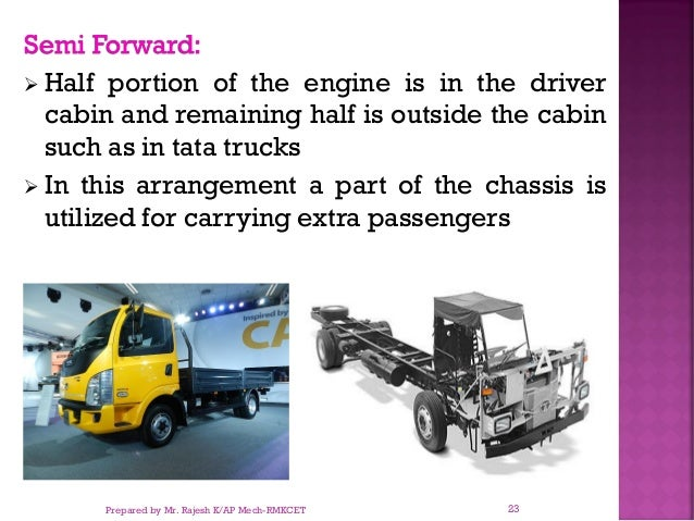 Semi Forward: ➢ Half portion of the engine is in the driver cabin and remaining half is outside the cabin such as in tata ...