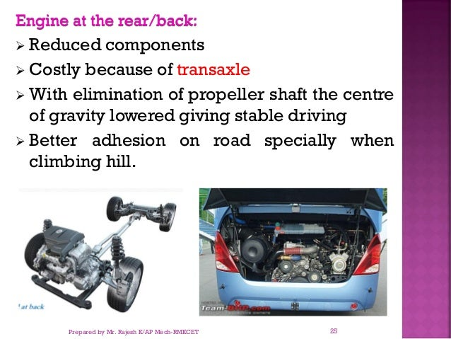 Engine at the rear/back: ➢ Reduced components ➢ Costly because of transaxle ➢ With elimination of propeller shaft the cent...