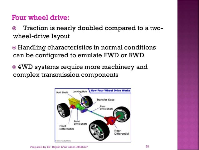 Four wheel drive:  Traction is nearly doubled compared to a two- wheel-drive layout  Handling characteristics in normal ...