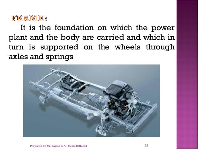 It is the foundation on which the power plant and the body are carried and which in turn is supported on the wheels throug...