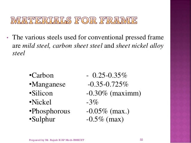 • The various steels used for conventional pressed frame are mild steel, carbon sheet steel and sheet nickel alloy steel •...