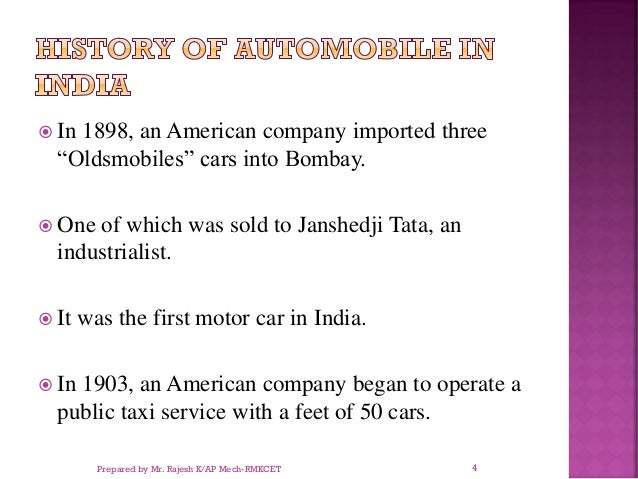 """ In 1898, an American company imported three """"Oldsmobiles"""" cars into Bombay.  One of which was sold to Janshedji Tata, a..."""