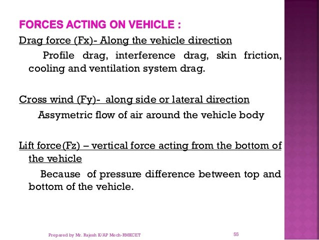FORCES ACTING ON VEHICLE : Drag force (Fx)- Along the vehicle direction Profile drag, interference drag, skin friction, co...