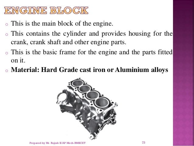 o This is the main block of the engine. o This contains the cylinder and provides housing for the crank, crank shaft and o...