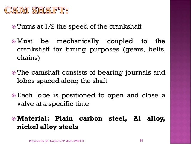  Turns at 1/2 the speed of the crankshaft  Must be mechanically coupled to the crankshaft for timing purposes (gears, be...