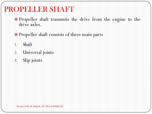 PROPELLER SHAFT  Propeller shaft transmits the drive from the engine to the drive axles.  Propeller shaft consists of th...