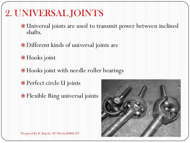 2. UNIVERSAL JOINTS  Universal joints are used to transmit power between inclined shafts.  Different kinds of universal ...