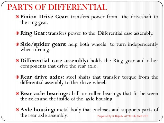 PARTS OF DIFFERENTIAL  Pinion Drive Gear: transfers power from the driveshaft to the ring gear.  Ring Gear: transfers po...