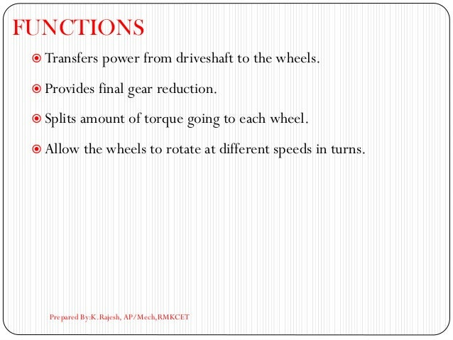 FUNCTIONS  Transfers power from driveshaft to the wheels.  Provides final gear reduction.  Splits amount of torque goin...